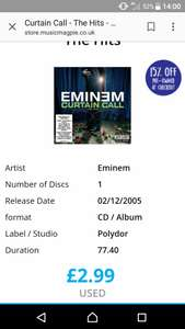 Eminem curtain call ( 2nd hand) £2.55  @ musicmagpie includes postage