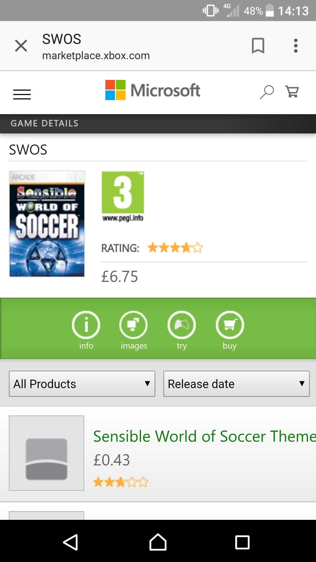 Sensible world of soccer £6.75 @ marketplace.xbox.com