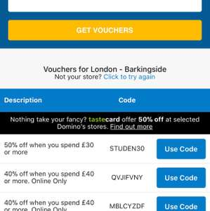 Find ALL Dominos vouchers!! e.g 50% off