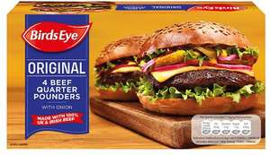 Birds Eye Original Beef Quarter Pounder Burgers with Onion (4 per pack - 454g) was £2.50 now £1.50 @ Iceland