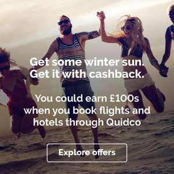 £20 bonus cashback on £299+ travel spend at Quidco.