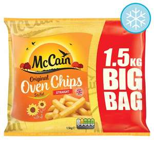 McCain Straight Cut Oven Chips (1.5Kg) / McCain Crinkle Oven Chips (1.5Kg) one bag costs £2.60 but until Tuesday 16th January 2018 you can get any 3 bags for £5.00​