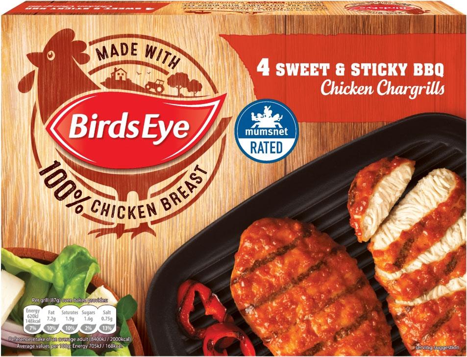 Birds Eye 4 Original Chicken Chargrills (340g) / Birds Eye 4 Chicken Chargrills Sweet & Sticky BBQ (348g) / ONLY £1.50