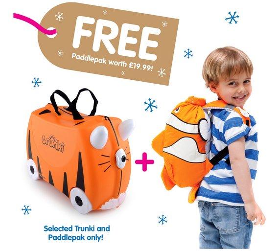 Trunki Tipu Tiger Ride-On Suitcase & Clownfish Paddlepak for £30.99 @ Argos