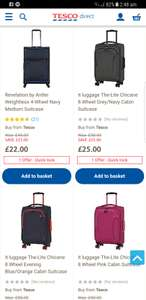 Suitcase ( many from £22 to £50 half price) at Tesco