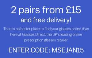 2 pair of specs from £15 delivered at Glasses Direct