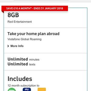 £18 sim only deal 8gb data unlimited mins unlimited texts with nowtv/sky sports mobile at Vodafone