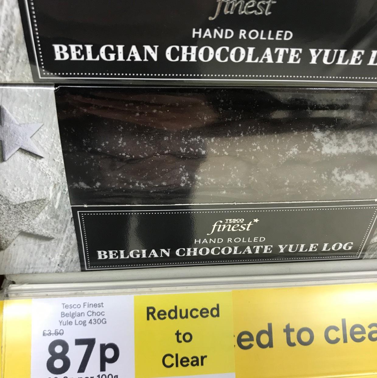 Tesco finest Belgian chocolate Yule log 87p instore