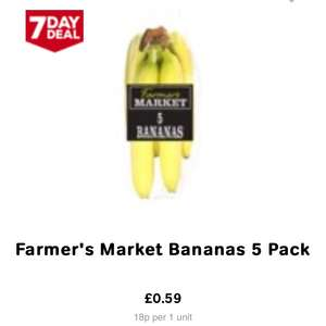 Farmers Market bananas - pack of 5 for 59p instore and online @ Iceland