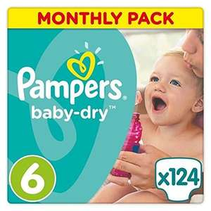 Pampers size 6 baby-dry nappies for £15.03 (12p each) or subscribe & save and get 20% discount, making them £12.02 (10p each) at Amazon (Prime Exclusive)