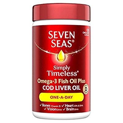 Seven Seas Omega-3 Fish Oil Plus Cod Liver Oil One-a-Day 120 Capsules £5.69 Delivered (Prime) / £9.68 (non Prime)  Plus 3 for 2 - £11.38 for 360 Capsules at Amazon
