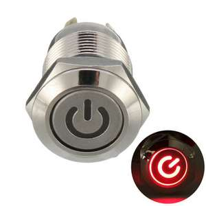 12V 4 Pin Led Metal Push Button Switch Momentary Power Switch Waterproof - £1.20 at Banggood