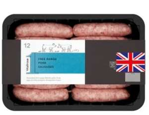Waitrose free range 12 pork sausages 800g, - £2.50