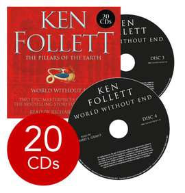 Ken Follett Pillars of the Earth / World Without End Collection - 20 CDs (Audio) now £6 @ The Book People (+ £2.95 Del for orders under £25)