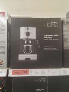 Espresso coffee machine with milk frother £30 @ Sainsbury's - Chelmsford
