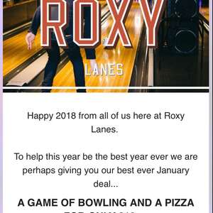 Pizza and bowling for £10 @ Roxy Lanes (Leeds)