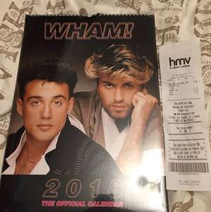 All calendars half price in HMV but really the deal is you can now get a Wham! Calendar for £4.99. Midlife crisis is complete.