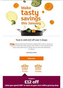 Account specific - £22 off  online grocery shop of £60* or more in January at Sainsbury's