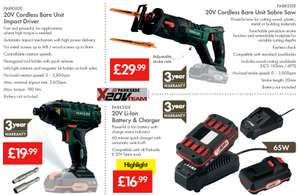 From the 14th at Lidl £36.98 for the set Parkside 20v cordless impact driver 60 min charger and Li-Ion battery or £19.99 for bare unit