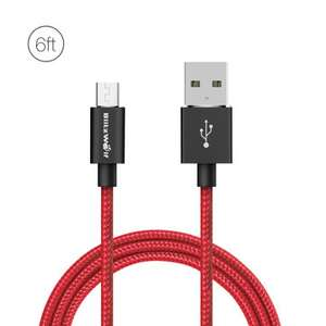 Micro USB Braided Charging Data Cable 6ft/1.8m With Magic Tape Strap £2.88 at Banggood
