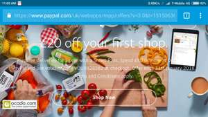 £20 off your first shop at Ocado via Paypal