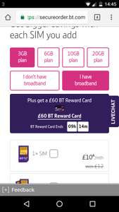 BT SIM ONLY FOR BROADBAND CUSTOMERS - £10p/m (12 month contract = £120 total / £60 total with £60 reward card)