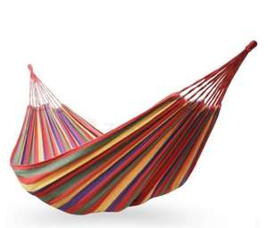 Canvas Striped Single Camping Hammock for Reading Sleeping £3.83 + £6.19 delivery @ Zapals