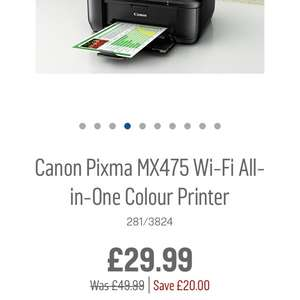 Canon pixma wifi all in one printer £29.99 @ Argos