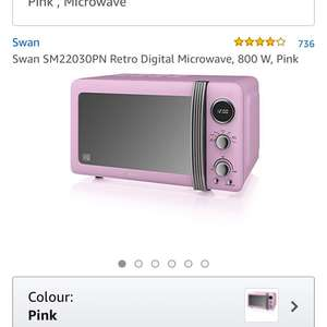 Swan pink digital microwave £49.99 Dispatched from and sold by Swan-Brand - Amazon