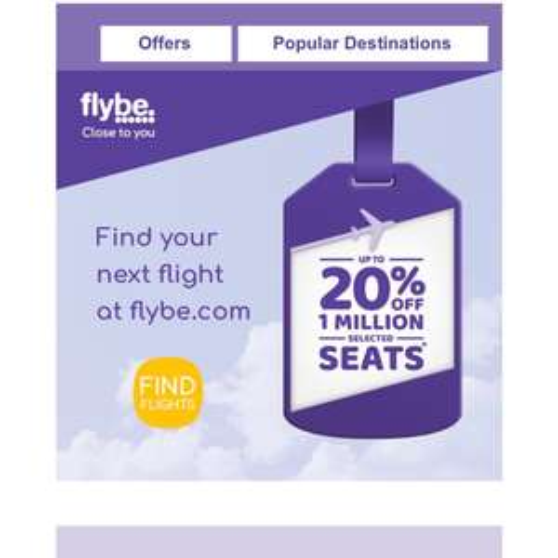 FlyBe 20% off 1 million seats January Sale