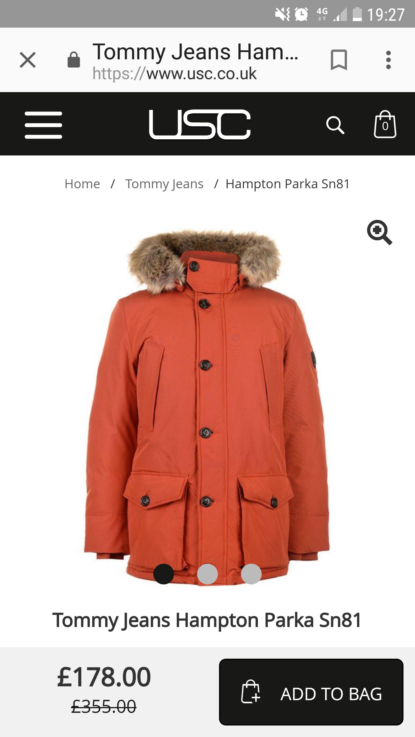 Tommy Hilfiger Hampton Down Praka + 7% quidco £178 @ USC