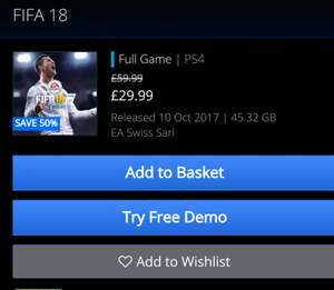 FIFA 18 PS4 £29.99 @ PSStore