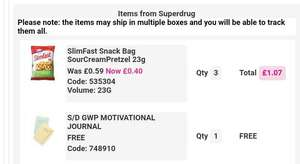 Free Journal/diary with purchase of 3 Slimfast snacks (40% off) at Superdrug + FREE click and collect