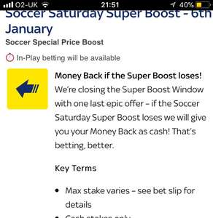 Money back as cash @ Sky Bet