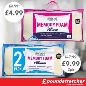 Pair memory foam pillows £9.99 @ poundstretcher