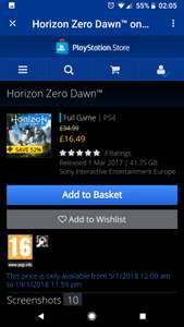 Horizon Zero Dawn Digital Version for £16.49 at PSN