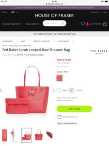 Ted Baker Larah Looped Bow Shopper Bag Was £170 Now £75 Delivered at House of Fraser (Possibly £67.50 with Unidays code)