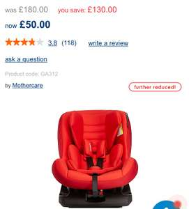 Havana isofix combination car seat was £180 now £50 delivered @ Mothercare