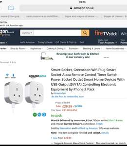 2 pack Alexa compatible smart plugs with usb £28.99 Sold by GreensKon and Fulfilled by Amazon