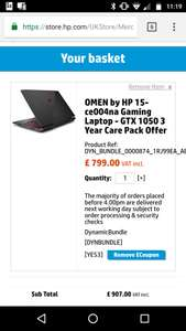 Hp omen Intel® Core™ i5-7300HQ Laptop - £699 with voucher code at HP Store