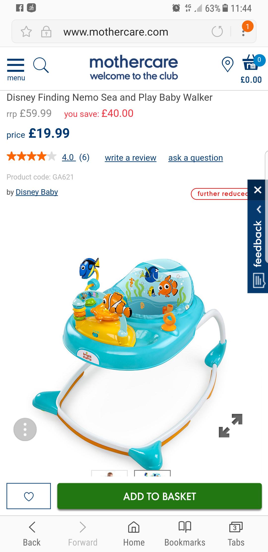 Mothercare Finding Nemo baby walker £19.99