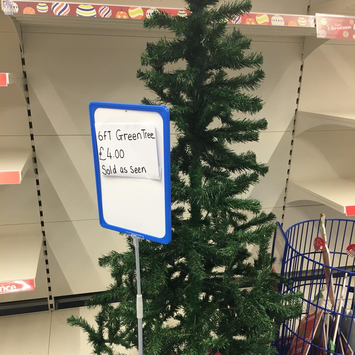 6ft green Christmas tree £4 instore @ B&M - Swansea