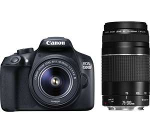 Canon EOS 1300D with 18-55mm lens AND 75-300mm Lens *PRICE INCLUDES CANON CASHBACK* @ Currys - £358
