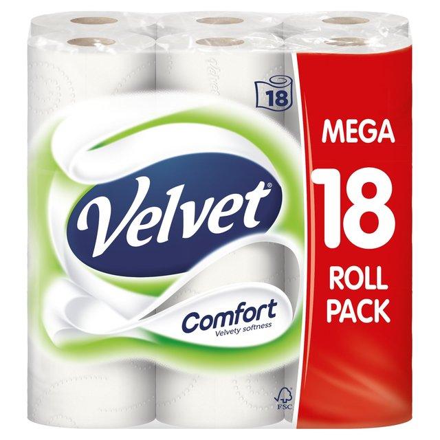 Velvet Comfort 16 White Toilet Rolls, Asda, £5