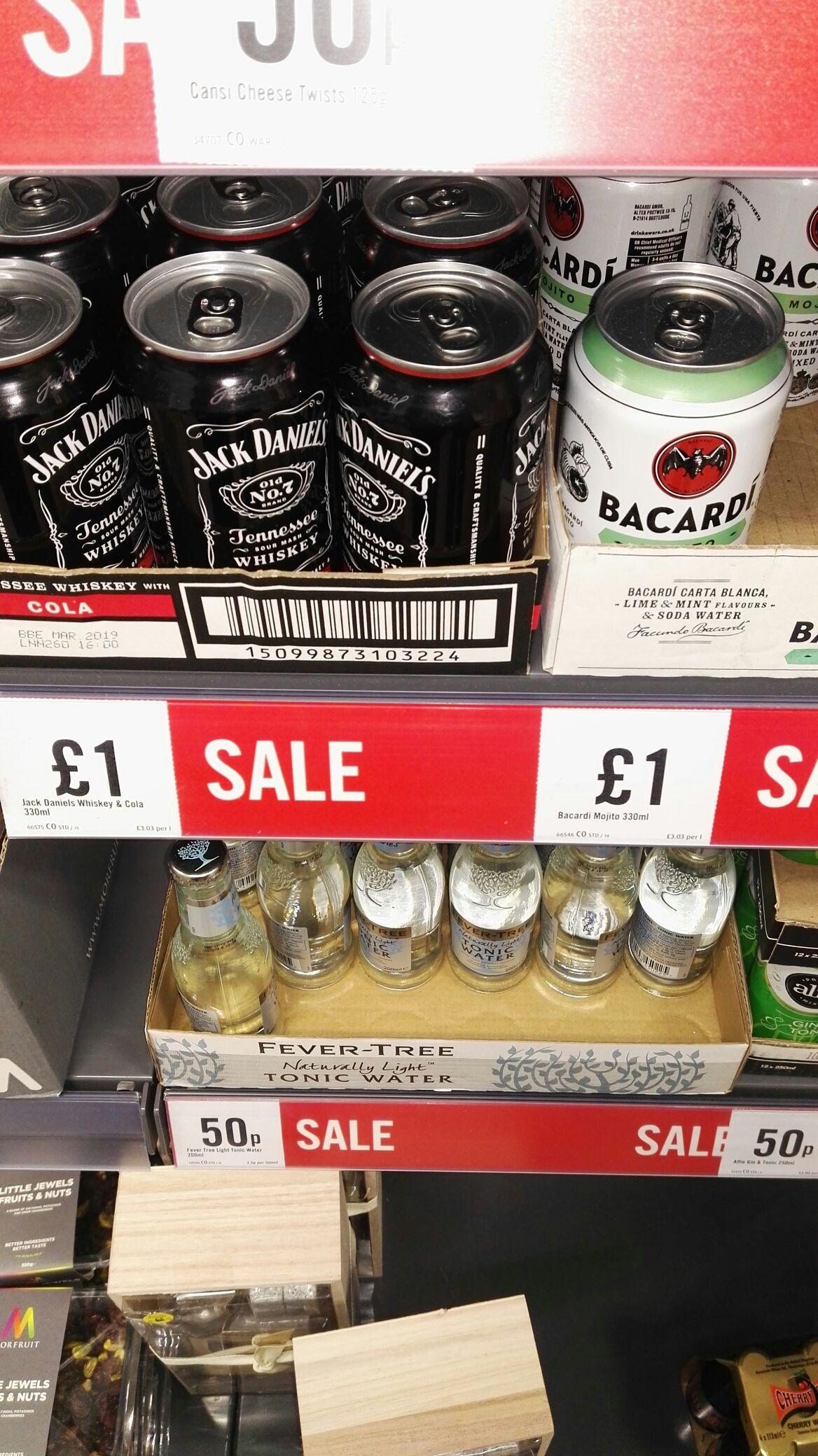 JD & Coke 330ml - £1, Bacardi - £1 & Tonic water - 50p - instore @ Iceland (Rochdale)