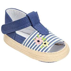 (£2) John Lewis Baby Floral and Stripe Open Toe Espadrille Shoes, Blue/White