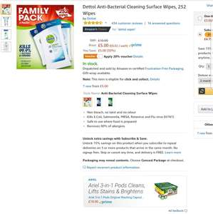 *Back* Dettol Anti-Bacterial Cleaning Surface Wipes, 252 Wipes £3.75 with 20% S&S voucher at Amazon Free Delivery