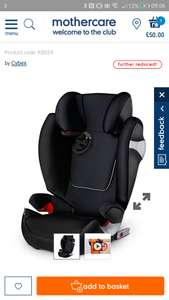 Cybex car seat at Mothercare for £50