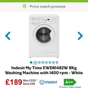 Indesit My Time EWD81482W 8Kg Washing Machine with 1400 rpm - White at ao.com for £189