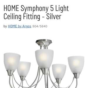 5 light ceiling fitting at Argos for £14.49